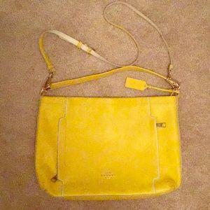 Canary yellow crossbody coach purse